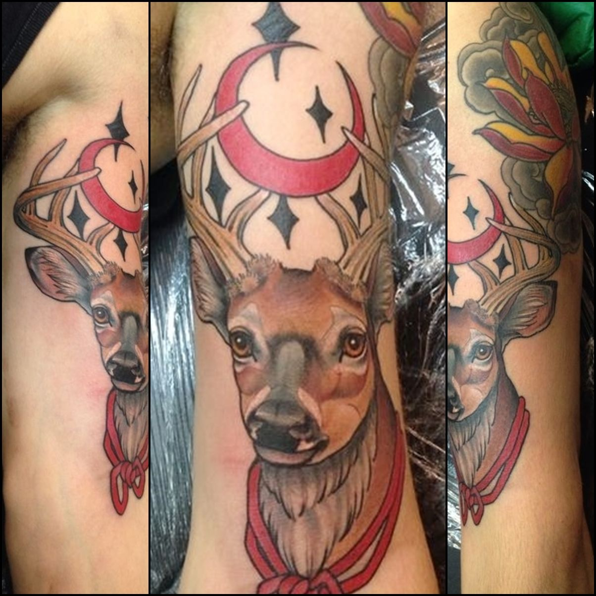Deer tattoo done by Mauro Madrid Ramos - Good Times Tattoos, Buenos Aires, Argentina.