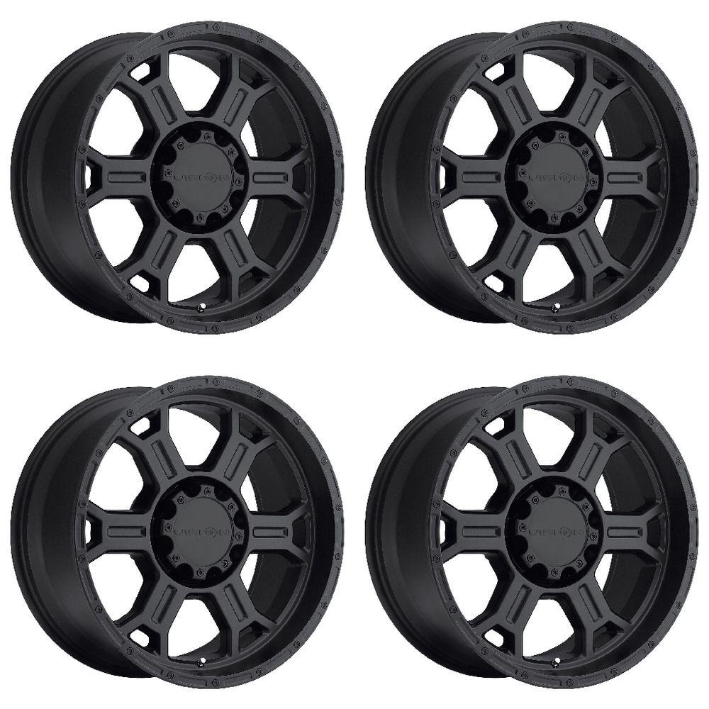 Set 4 17 vision 372 raptor black wheels 17x9 6x5 5 6mm gmc chevy tahoe 6 lug visionoffroad