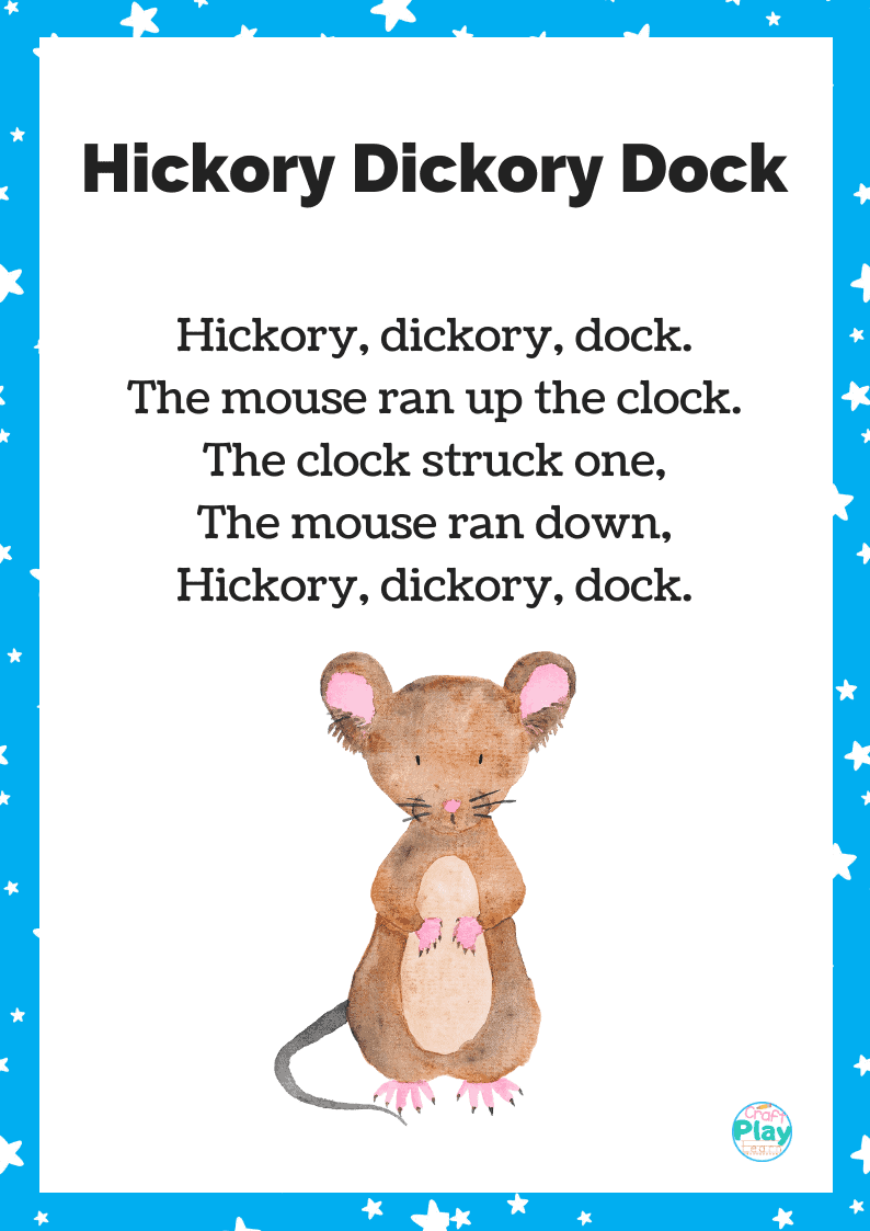 Hickory Dickory Dock Song And Activity Ideas