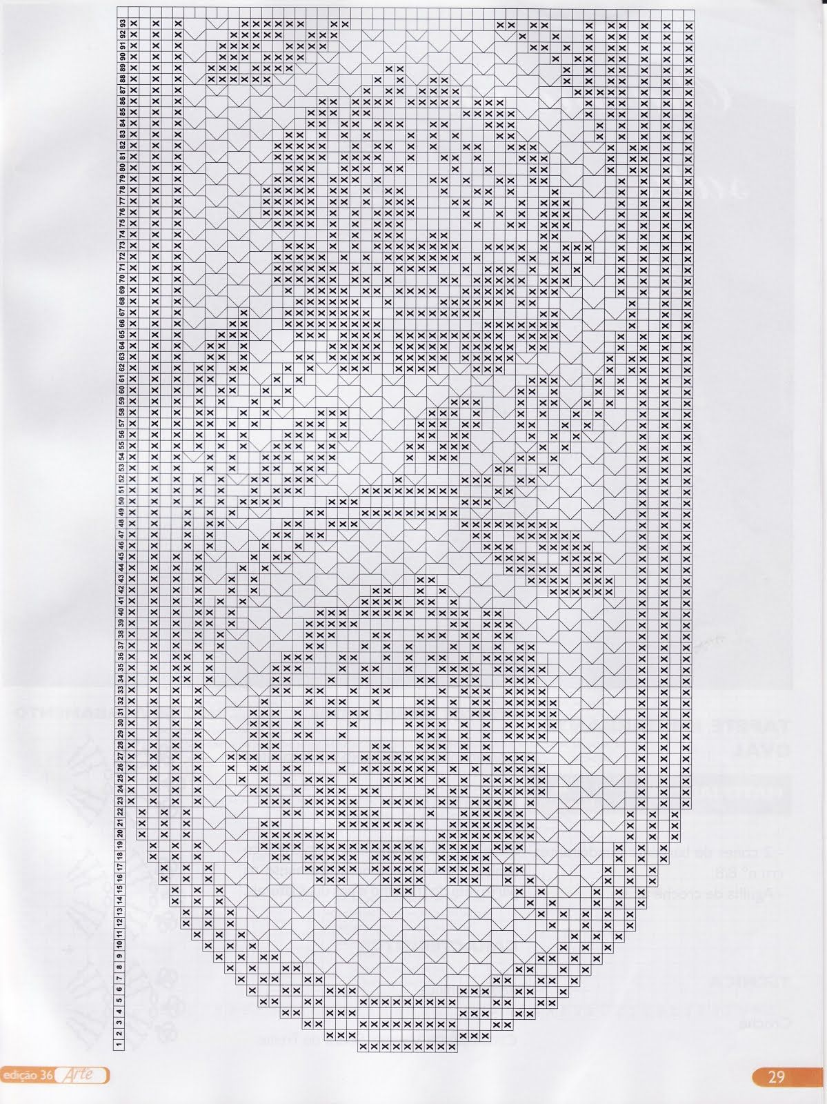 Filet Häkeln Tischläufer Filet Crochet Table Runner Chart