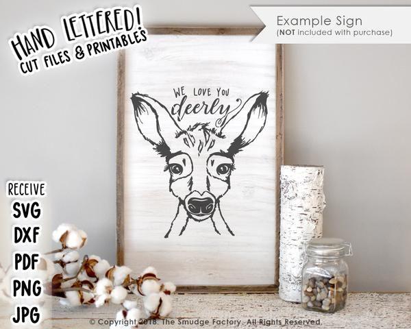 Download We Love You Deerly SVG & Printable | Vinyl crafts, Hand ...