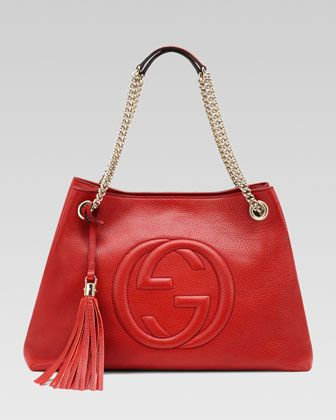 caa8eebcc29a A gorgeous red handbag to love! Soho Leather Medium Chain-Strap Tote, Red  by Gucci at Neiman Marcus.