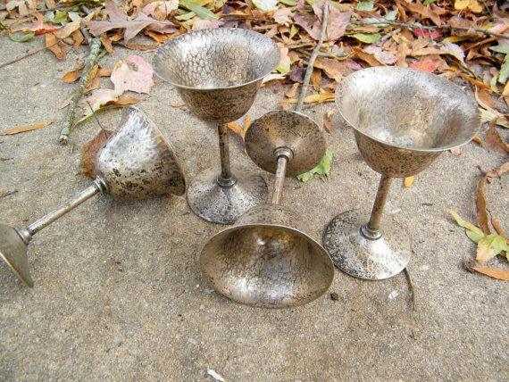 Tarnished Silver Plated White Metal Goblets by assemblage333, $24.00