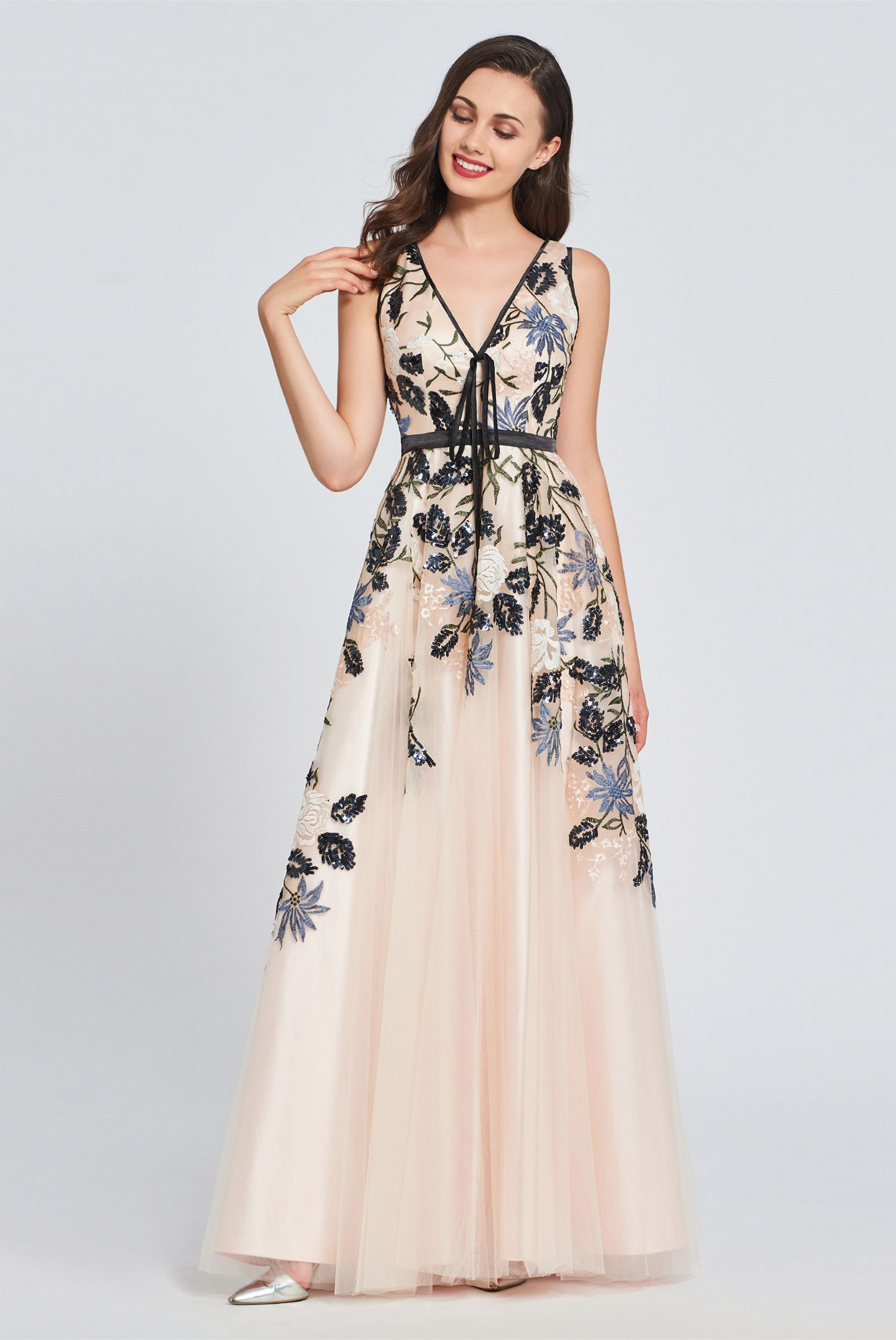 Aline vneck appliques embroidery prom dress in dresses