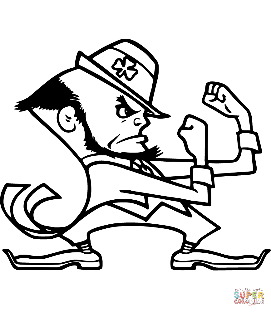Notre Dame Fighting Irish Coloring Pages Fighting Irish Logo Football Coloring Pages Notre Dame Mascot