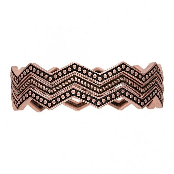 Rock 47 Pins and Needles Copper-Tone Triple Zig-Zag Bracelets... ($5.40) ❤ liked on Polyvore featuring jewelry, bracelets, pin jewelry, bracelets bangle, twist jewelry, polished rock jewelry and hinged bracelet