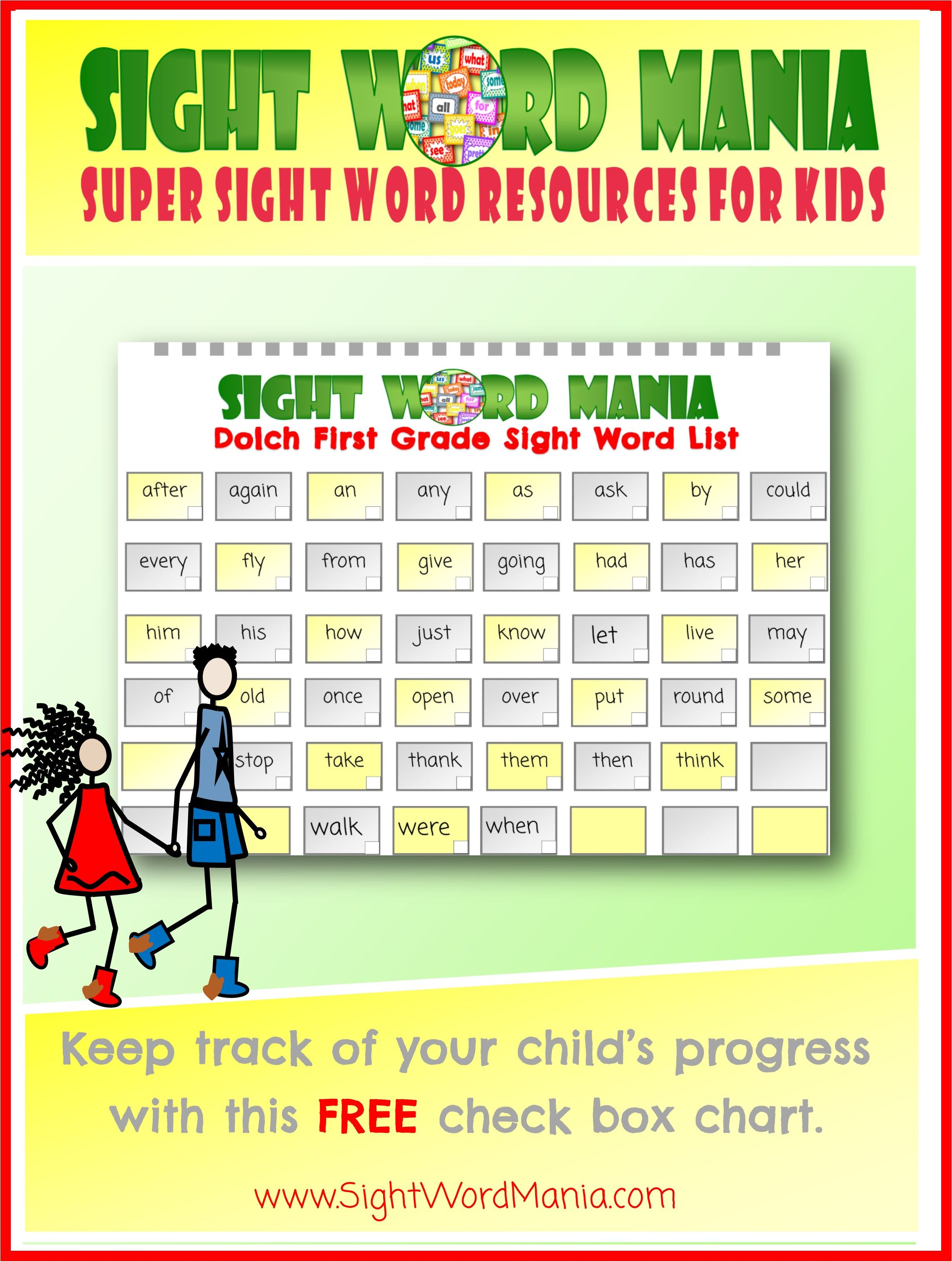 Free Dolch First Grade Sight Word List And Check Box Chart
