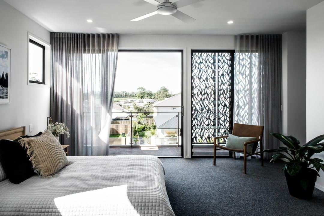 Sliding Doors Black Frames Onto Balcony Prefer Bed Facing Sliding Doors And Ba Contemporary Bedroom Design Interior Design Living Room Modern Carpets Design