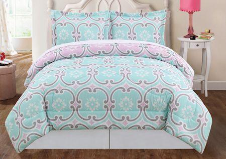Soft Pink & Green Elegant Scroll Teen Girl Bedding Twin Full/Queen King Comforter Set