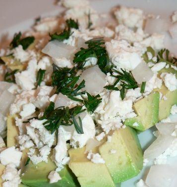 Avocado Salad Recipe With Feta, Onions And Dill