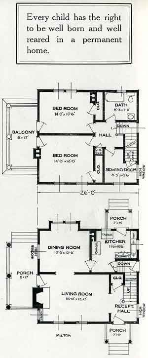 Standard Home Plans For 1926 The Milton House Plans Cottage Floor Plans House Floor Plans