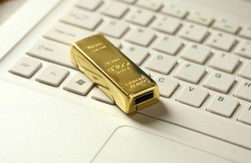 Waterproof Gold bar USB 2.0 flash pen drive memory stick 32MB