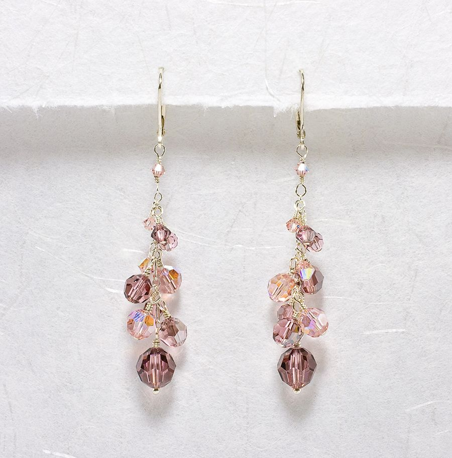 Vintage Rose Crystal Twilight - Bridesmaid Earrings
