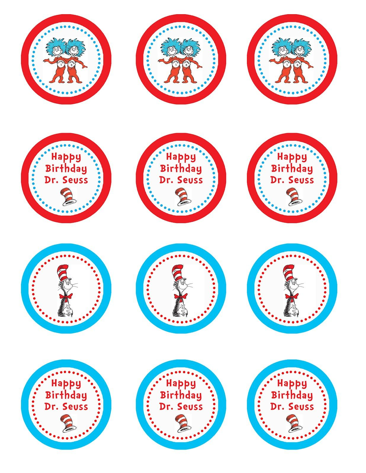 photograph regarding Printable Cupcakes Toppers titled Totally free Dr Seuss printable cupcake toppers occasion strategies for