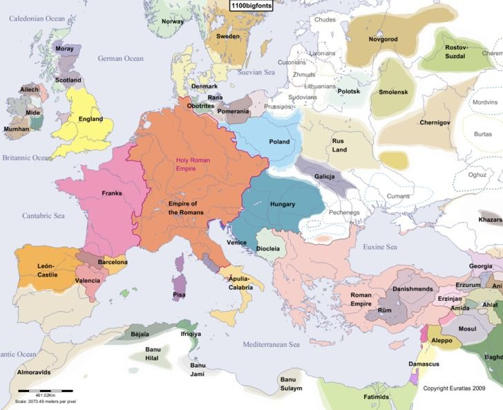 europe main map at the beginning of the year 1100
