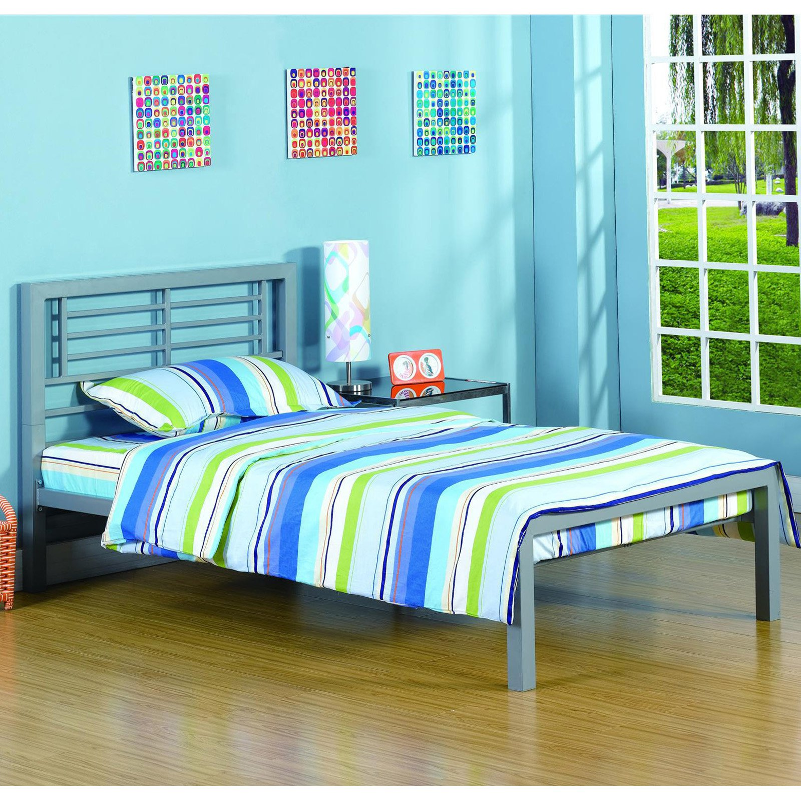 Your Zone Twin Platform Bed Silver Metal twin bed frame