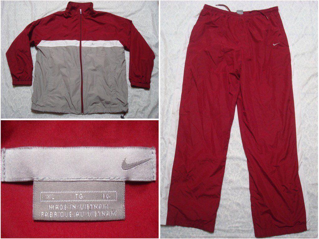 47ba8e17cb1b Vintage Men s Nike Track Suit Windbreaker Red Maroon Grey White Big Logo  Spell Out Swoosh Jacket Pants Sweat Full Zip XL by GentlyUsedGoods on Etsy