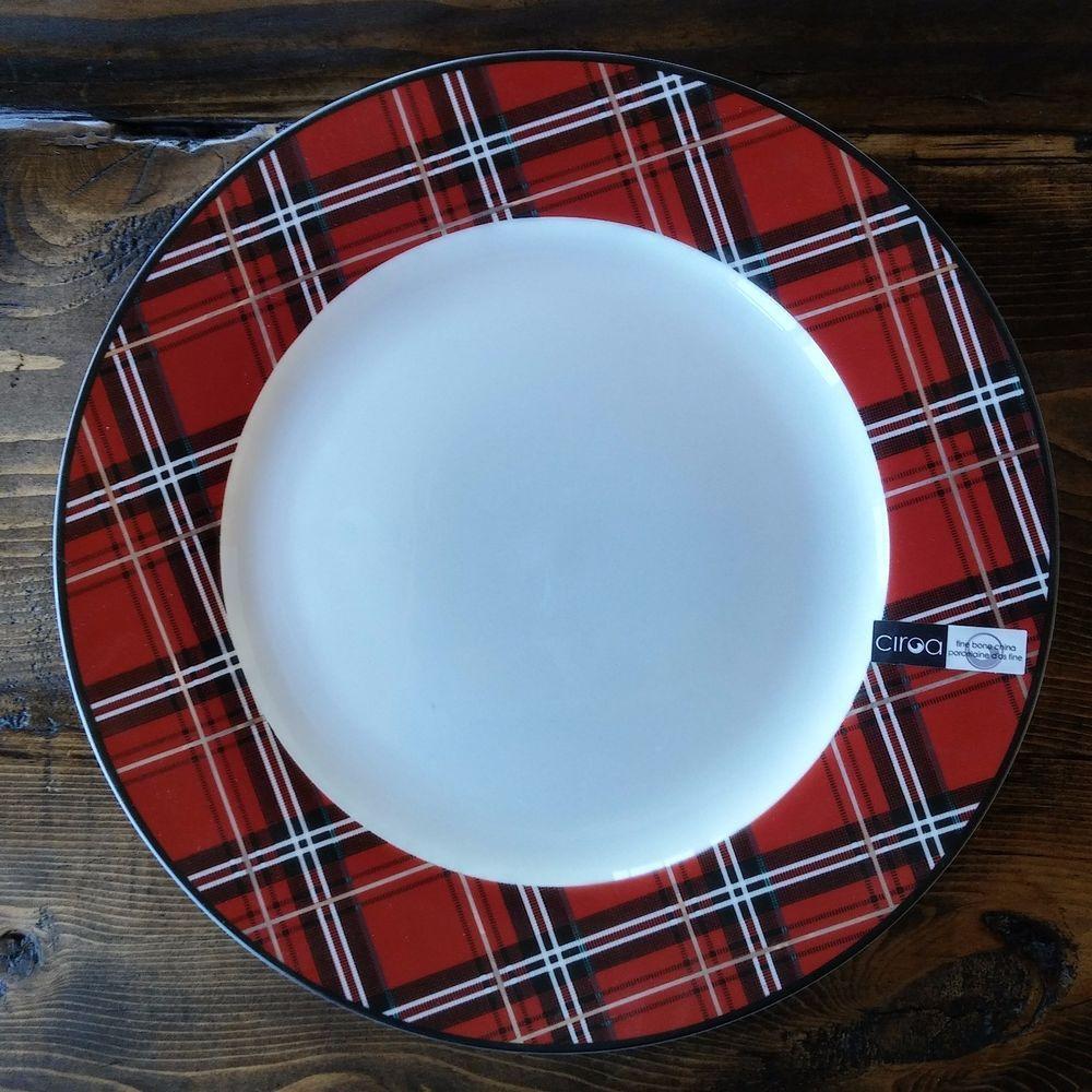Ciroa 4 Tartan Plaid Dinner Plates 11  Red/Black/Gold Bone & NEW! Ciroa Tartan Plaid 4 Dinner Plates 11