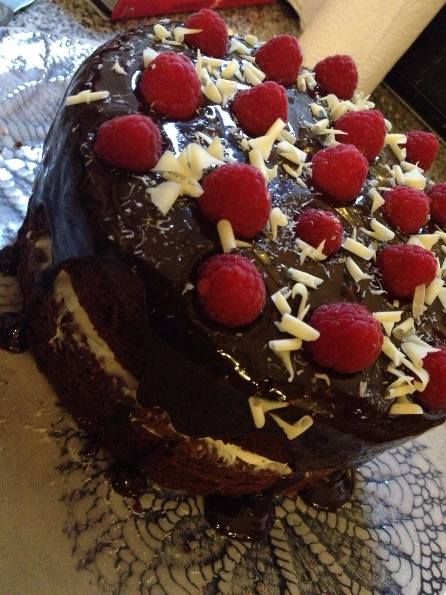 GU Chocolate Birthday Cake With Vanilla Marscapone Filling Then Topped Dark Ganache White Choc Curls And Random Raspberries