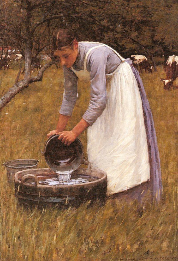 Henry Herbert La Thangue (1859-1929) - Watering the Cows