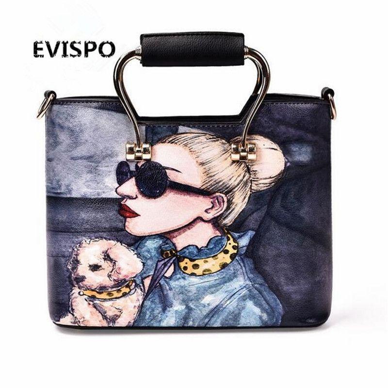 Leather Bags Women 2017 High Quality Luxury Handbags Bag Designer Cartoon Printing Character Shoulder