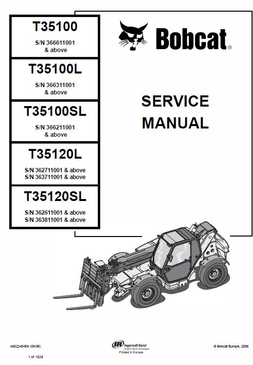 Bobcat T35100 T35100s T35100l T35100sl T35120l T35120sl Telescopic Manual Bobcat Manual Telescope