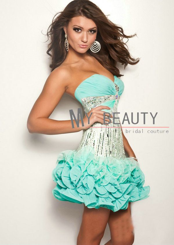 Mint Green Mini 2013 Sexy Homecoming Dresses Cheap Sweetheart Slim ...