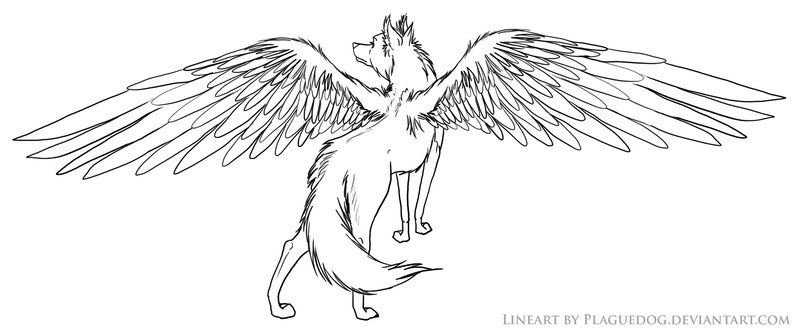 Winged Wolf Lineart T Wolf With Wings Wolf Colors Cool Pencil