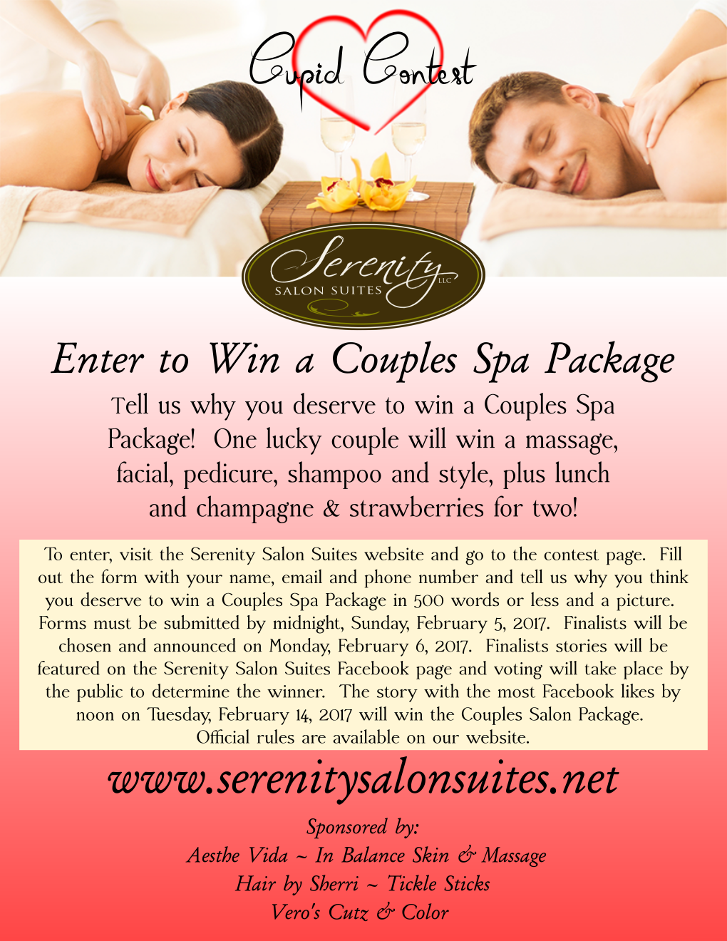 Enter To Win A Valentine S Couples Spa Package Visit Http Serenitysalonsuites Net Contest For Details Couples Spa Packages Couples Spa Spa Packages