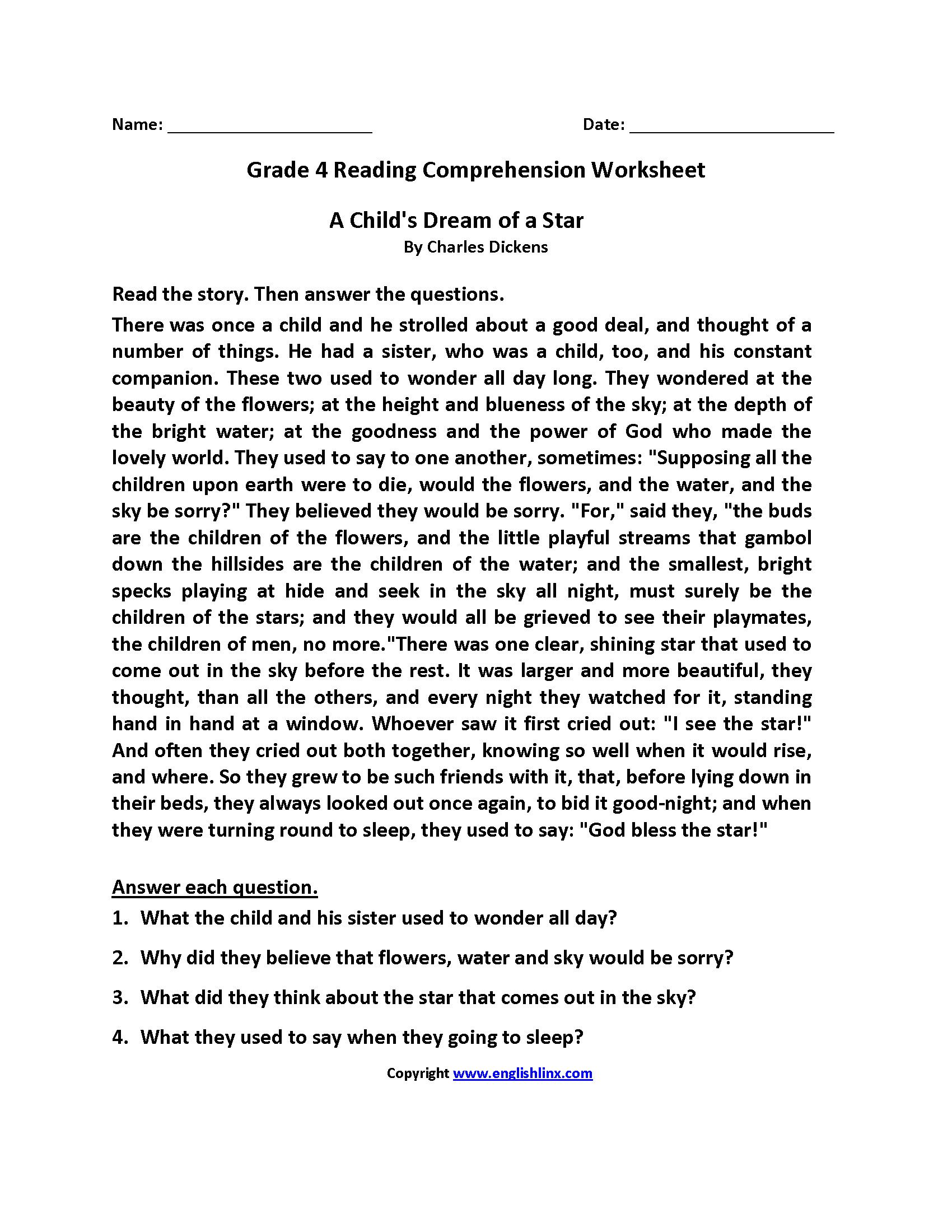 Reading Comprehension Worksheets Fourth Grade 4 Reading