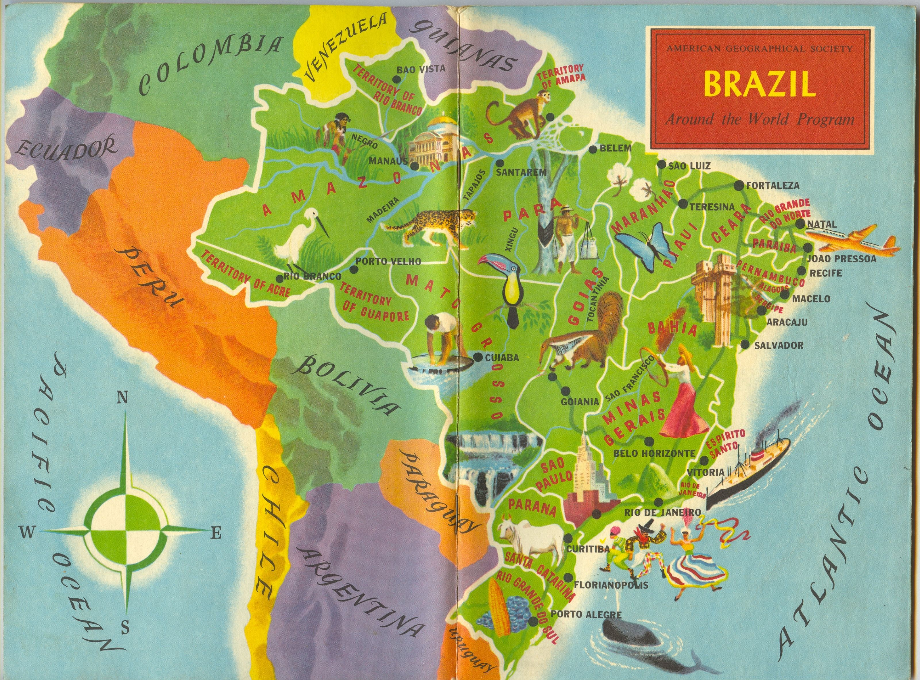 Brazil american geographical society around the world program brazil american geographical society around the world program vintage map book cover gumiabroncs Image collections