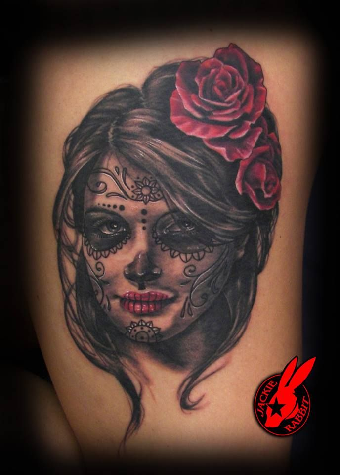 c513f59f23c6f Sugar Skull Girl Portrait by Jackie Rabbit by jackierabbit12  #diadelosmuertos #dayofthedead