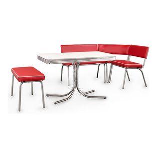 Attractive Coaster Fine Furniture Retro Chrome Corner Nook Dining Set, Red Vinyl   For  A Retro