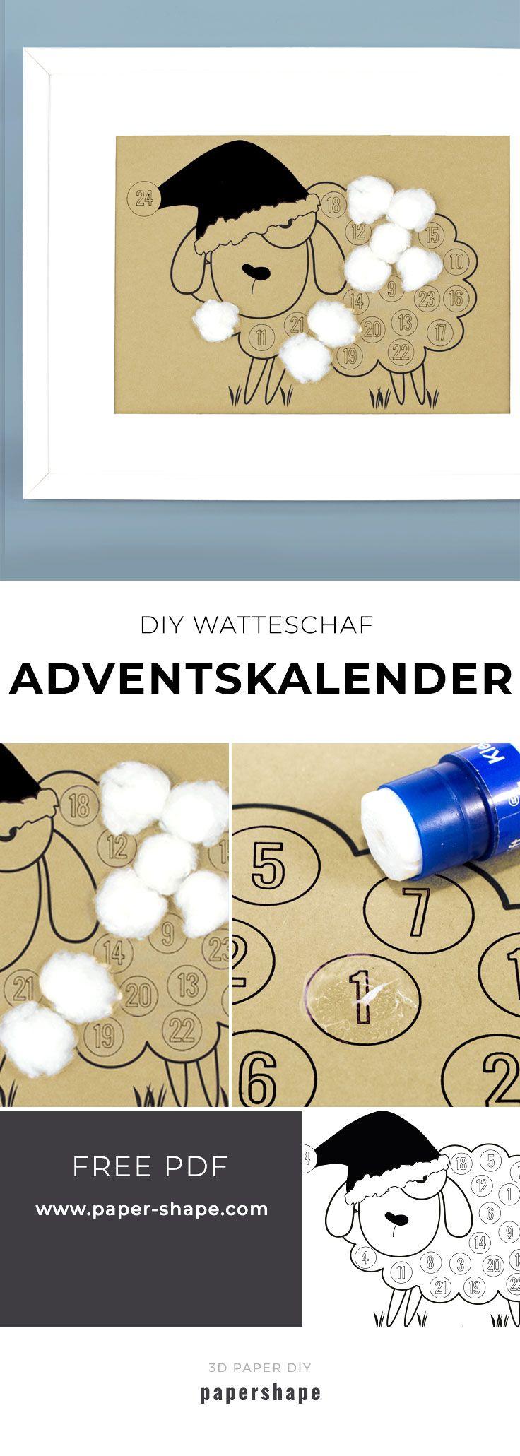 Einfach und schnell: Adventskalender als Watteschaf (kostenlose Vorlage) #adventkalenderbasteln