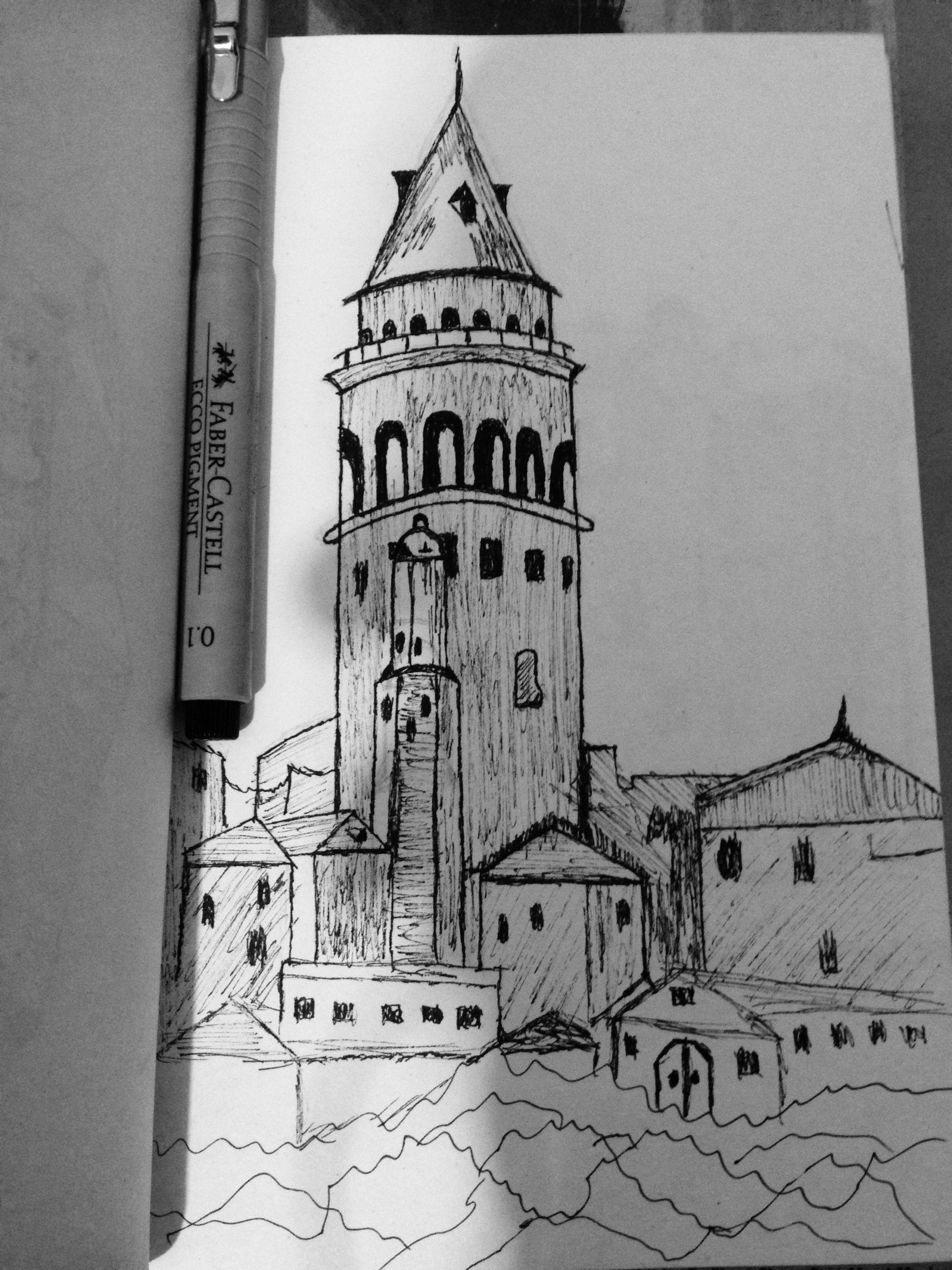 Galata Kulesi Karakalem nasıl çizilir
