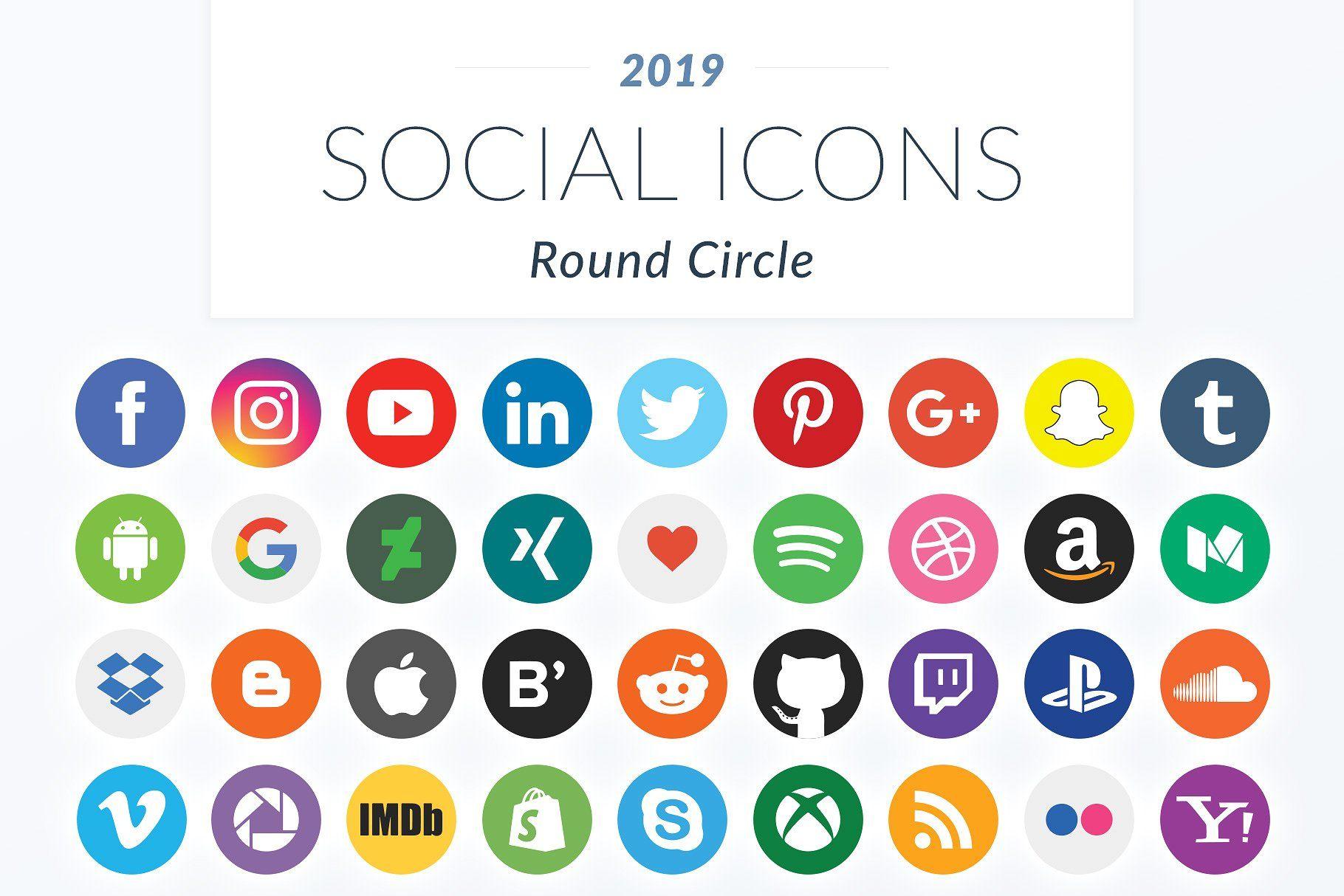 2019 Round Circle Social Icons Logo's, Tekenen, Sociale