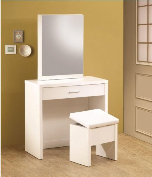 Bedroom Vanity Set Girls Makeup Table Drawer Mirror Dresser Stool - Bedroom Vanity Table