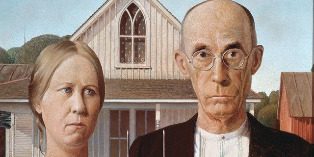 """Détail de """"American Gothic"""", 1930, de Grant Wood (1891-1942), Chicago, The Art Insitute of Chicago, Friends of American Art Collection"""