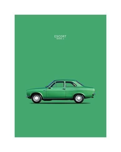Giclee Print: Ford Escort Mk1 TwinCam 1968 by Mark Rogan : 20x16in