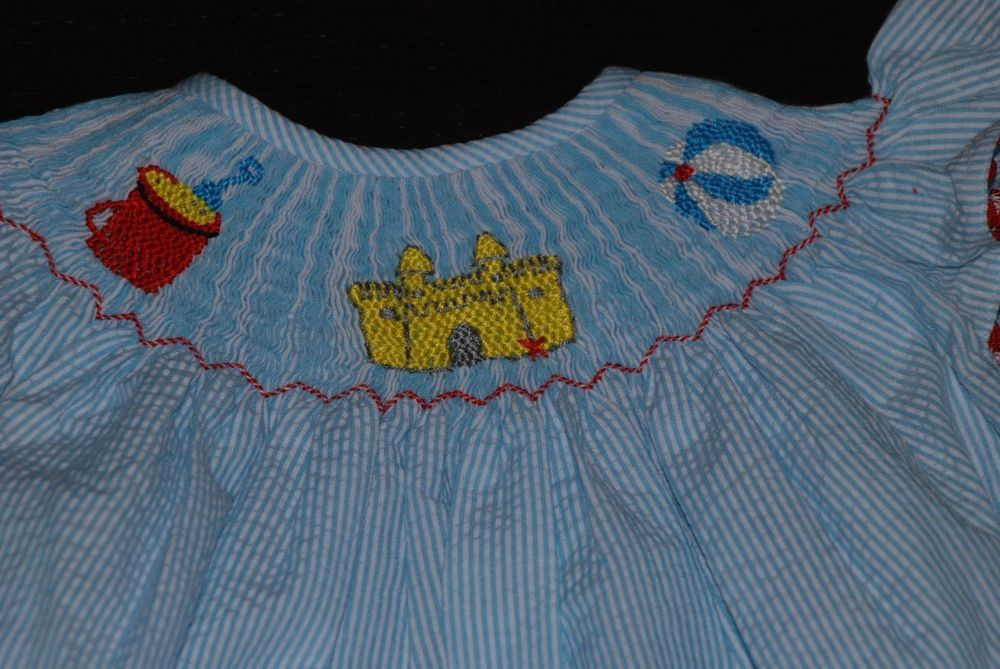 Sandcastle Beach Smocked Dress! Turquoise Seersucker Sizes 6m-3T CUTE $60 NWT #Handmade #Everyday