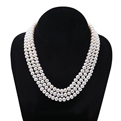 JYX Classic 7 x 20 mm White Freshwater Biwa Pearl Necklace 18 inches E6rtCl8v