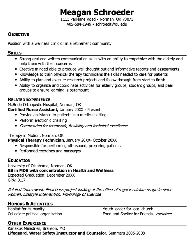 Example Of Welness Clinic Resume  HttpExampleresumecvOrg