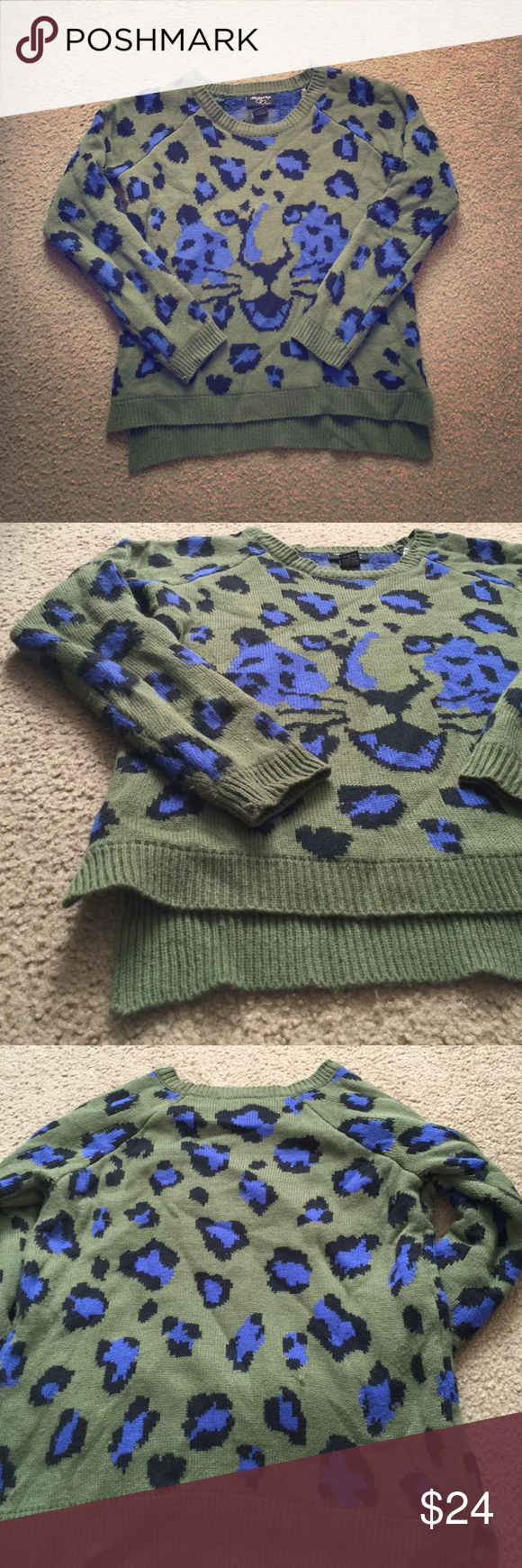 Army green Cheetah print sweater. Slit in bottom. Little bit of high-low action with this one. Never worn and you can tell because it would be pilled if I ever washed it. Perfect condition except for a little thread is loose on the back. Negotiable. Sweaters Crew & Scoop Necks