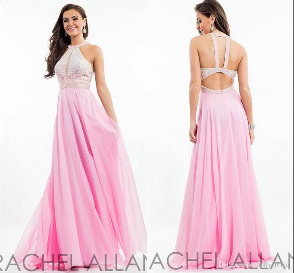 2016 Halter Pink Prom Dresses Rachel Allan Design Fully Beaded Embellished Crystals Sexy Backless Dresses Evening Wear Long Party Gowns Elegant Prom Dress Emo Prom Dresses From Molly_bridal, $100.79| Dhgate.Com