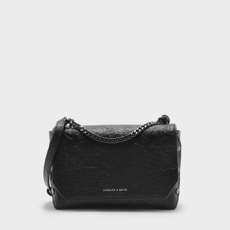Black Push-Lock Chain Shoulder Bag