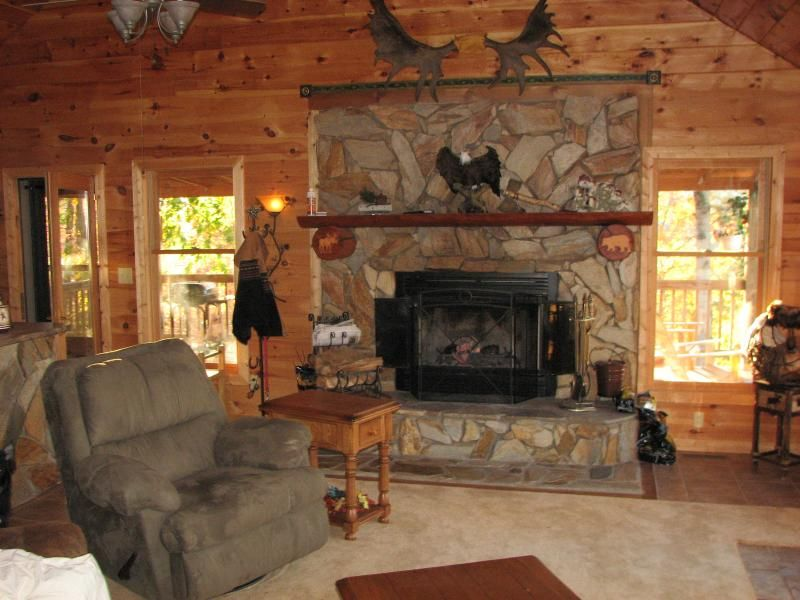 Real Wood Burning Fireplace With Beautiful Hand Laid Stone Hearth Wood Burning Fireplace