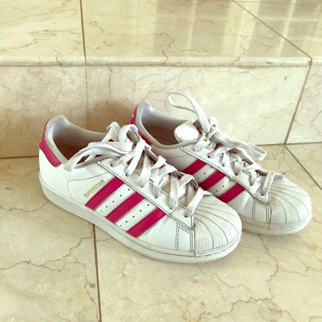 adidas superstar pink stripes womens