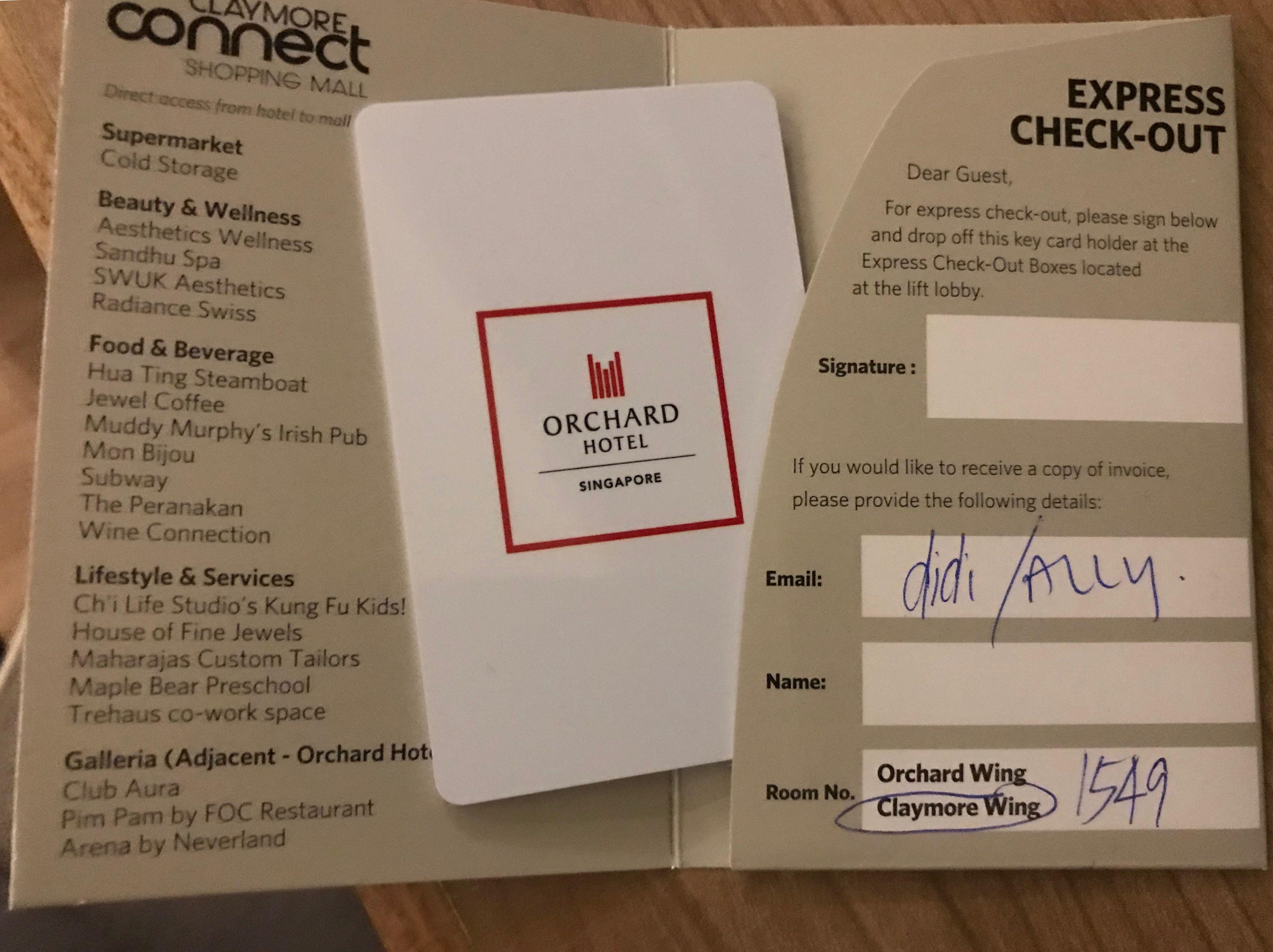 Orchard Hotel Singapore November2017 Unique Cards Shopping