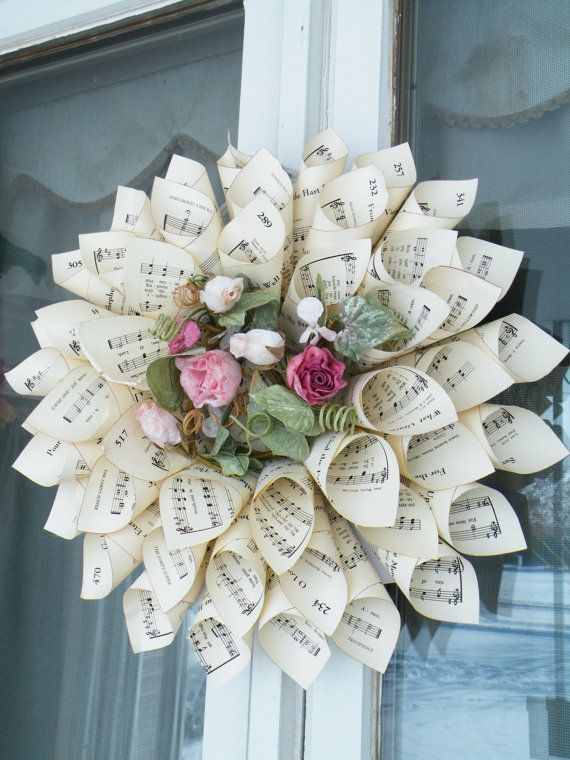 Hymnal paper cone wreath gonna try this for a christmas gift for hymnal paper cone wreath change out center with christmas flowers vines etc mightylinksfo