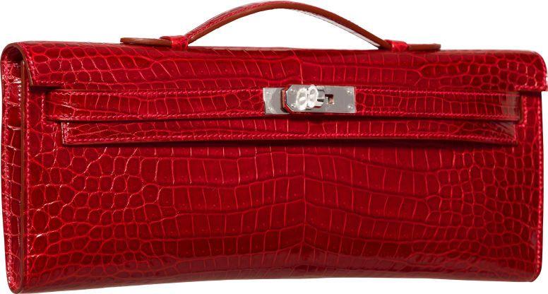 bd6ff667c156 Hermes Shiny Rouge Vif Porosus Crocodile Kelly Cut Clutch Bag with  Palladium…